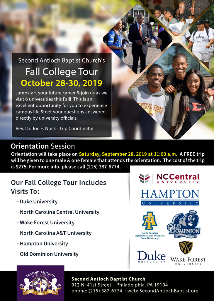 Fall College Tour 2019 Flyer - Second Antioch